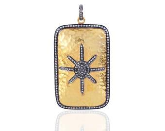 SDP13414 - Sterling Silver Diamond Pendant Hammered Finish-Star Burst