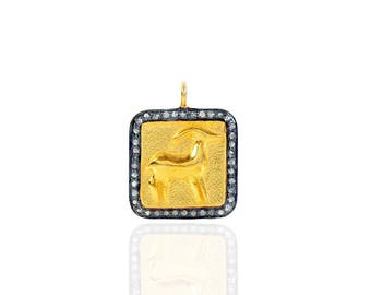 SDC2055 Zodiac sign -Capricorn Pave Diamond Charm