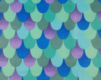 Soft and Comfy Minky Mermaid fabric - Green, purple, teal, glitter Scales