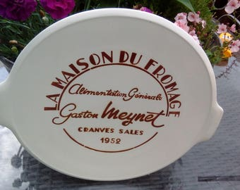 Vintage French advertising ceramic plate for cheese 1952
