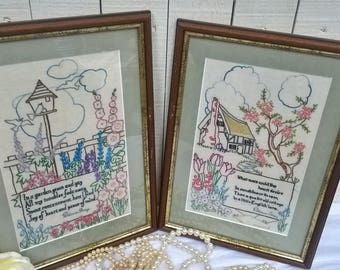 PAIR of country garden framed embroideries with poetry by Patience Strong