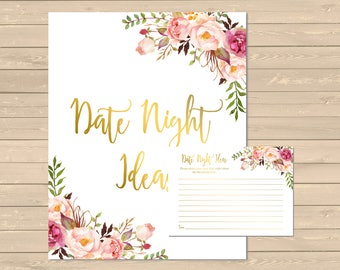 Gold Pink Boho Date Night Ideas Activity, Printable Floral Date Night Ideas, Boho Gold Pink Floral Date Ideas, Instant Download 110-G