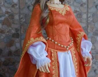 Queen of peach dress set for BJD Iplehouse EID dolls