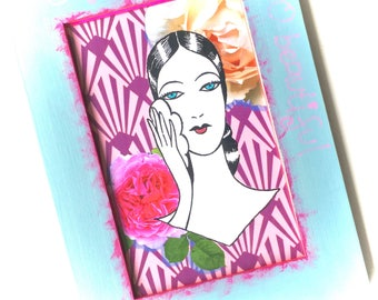 "Vintage drawing digital collage print in painted frame 5x7"", pink & blue, beautiful lady with powder puff, roses, art deco, bridesmaid gift"