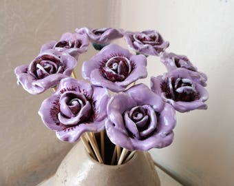 Artificial flowers, Ceramic flowers, Pottery rose, Handmade flowers, Flower decal, Rose decal, Ceramics and Pottery, Purple flower, Roses