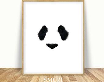 Panda Art, Panda Artwork, Panda Print, Panda Wall Art, Printable Panda, Panda Decor, Downloadable Panda, Black and White Animal, Panda