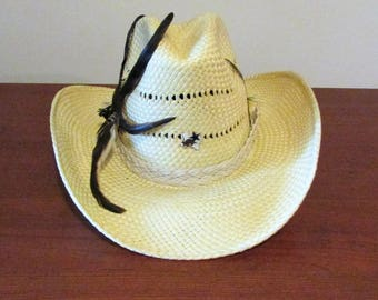 Vintage Miller Bros. Straw Cowboy Hat with Feathered Headband-7