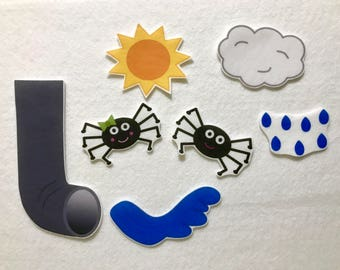 Itsy Bitsy Spider Felt Stories - Flannel Board - Speech Therapy - Early Intervention - Nursery Rhyme - Weather Activity - Gifts for Kids