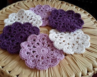 Set of 6 coasters is made of cotton handmade crochet