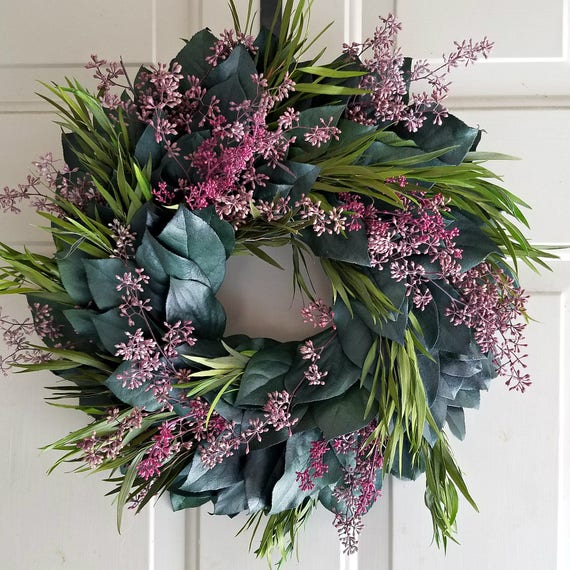 24 inch wreath, leaf wreath, large wreath, foliage wreath, preserved wreath, seeded eucalyptus wreath