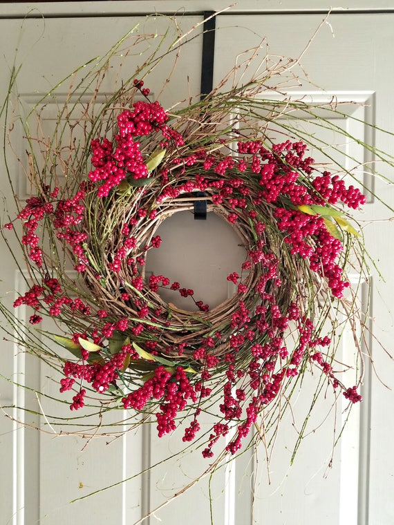 Berry wreath, twig wreath, door wreath, 23 inch wreath, red wreath, natural wreath. fall wreath, front door wreath, grapevine wreath