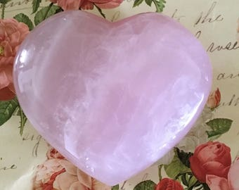 "Large ROSE QUARTZ HEART-Pink Puffy Rose Crystal Heart of Love-One of a Kind-Weighs 8 oz.- Height 3"" x 3 1/2"" Wide-Gift of Love-Heart Chakra"