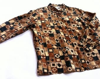 Vintage Abstract Geometric Print Neutral Silk Shirt - Casual Corner large l 10 12 - african mudcloth inspired tan beige brown black 70s 80s