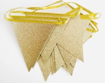8ft Glittering gold bunting, Gold garland, Gold birthday party decorations, Birthday party decorations adult,