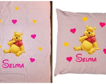 fleece baby blanket and light pink pillow Winnie
