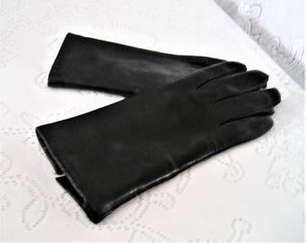 Vintage Napa Italian Black Leather Gloves Ladies Sm Sz 6-7 Fur Lined Italian Soft Leather Gloves Gift