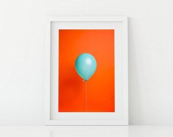 Teal Balloon on Orange Pop Art - Bright and Fun Kids Artwork