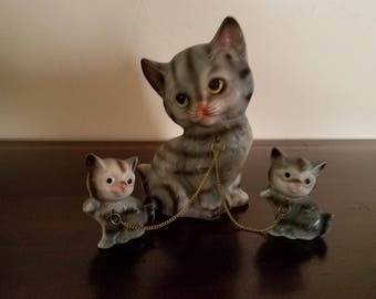 Mother Cat with Kittens Figurines