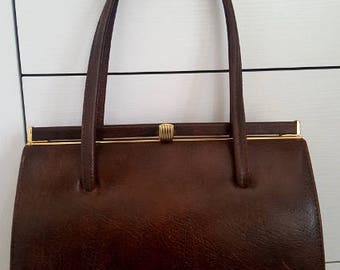 Vintage Elbief England 1950/60's Chocolate Brown Genuine Leather Handbag