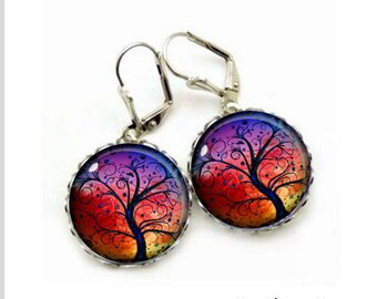 Earrings cabochon jewelry around the tree of life living tree