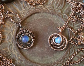 SALE! Opalite Moon Medallion- 2018 Jewelry - Opalite in Copper & Vintage Copper Wire Wrapped Pendant Necklace/ Gift for Her / Hippy Bohemian