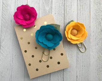 Felt Flower Paperclips Bookmarks, Large Felt Flower Bookmark, Felt Flower Clips