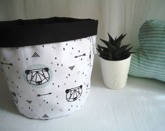 """GM diaper basket, empty pockets """"pandas mint"""" for baby and child in range blanket"""