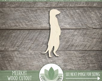 Meerkat Wood Cut Shape, Unfinished Wood Meerkat Laser Cut Shape, DIY Craft Supply, Many Size Options