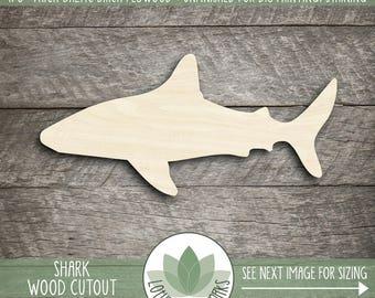 Wood Shark Shape, Unfinished Wood Shark Laser Cut Shape, DIY Craft Supply, Many Size Options