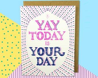 Congratulations card - new job card- promotion card- achievement card- graduation card - celebration card- card for friends-Silkscreen card