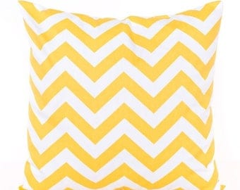 SALE ENDS SOON Yellow Zig Zag Print Pillow Cover, Yellow Throw Pillow, Pillowcases, Chevron Fabric, Yellow and White Pillows, Cushion Cover,