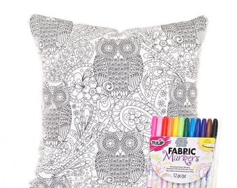 SALE ENDS SOON Owl Pillow Cover and Fabric Markers, Color Me Pillow Cover, Adult Coloring Pillow, Coloring for Adults, Paisley Fabric, Inclu