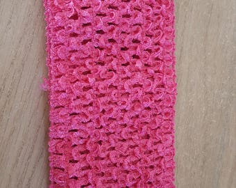 Large and soft pink fuchsia/pink crochet headband dark for tutus, dresses, hair accessory