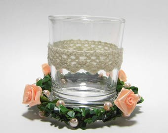 Candle with wreath salmon table light table decoration wedding candle wedding decoration table decoration rose