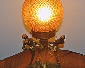 Art Deco Lamp, Dancing Girls Lamp, Vintage Spelter Lamp