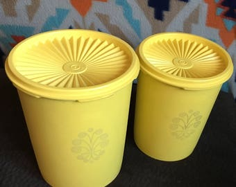 Yellow Tupperware canisters set of two with lids vintage Tupperware servaliers