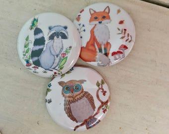 Owl pin, pin badge, owl buttons, button badge, Fox pin, badge pins, pin back buttons, Pinback button, pin set, badges, button pins, pin back