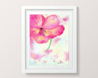 Bright Wall Art Print Pink Nursery Girl Decor Watercolor Flower Print Digital Download Art Floral Print Watercolor Printable Artwork Digital