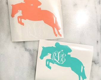 Hunter Derby Horse Vinyl Monogram Car Decal - Hunter Jumper - English - Equestrian Sticker