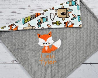 Personalized baby blanket-Fox Baby Blanket-Fox Woodland Minky Baby Blanket Personalized-Boy Girl Fox Blanket-Minky Teepee Tribal Nursery