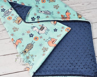 Personalized baby blanket - Personalized Baby llama minky blanket-Desert blanket- baby shower gift - llama nursery - Newborn Llama blanket