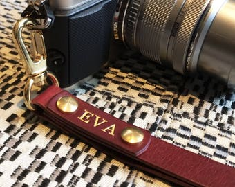 Camera Wrist Strap Wine Red Italian Leather Personalized Custom Engraving Name Monogram Avaloncraft