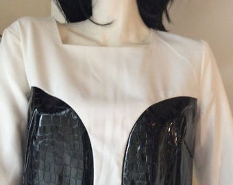 SALE//Black n white RETRO dress/PU size 12