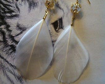 """""""Paraiso"""" earrings white feathers"""