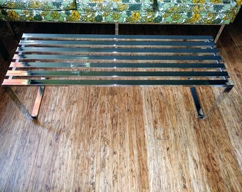 Mid Century Milo Baughman Chrome Slat Bench Coffee Table