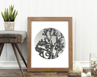Joshua Tree print, Joshua Tree photograph, printable California artwork, desert print, black and white photo, digital download, Myan Soffia