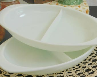 Vintage Opal White Pyrex Cinderella Oval Divided Serving Dish, Vegetable Casserole Glass Bowl, Ovenware, Oven to Table, Two Partition