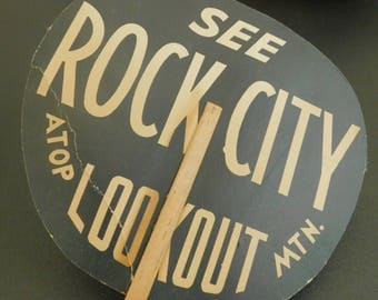 Vintage See Rock City Atop Lookout Mountain Hand Fan, Chattanooga, Promotional Advertising, Travel Souvenir, Tourist Attraction Collectible
