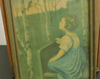 Antique Framed Lithograph, Girl on Bench Gazing Looking at Bird, Simon Glucklich Spring Song, Cottage Country Farmhouse Rustic Shabby Decor