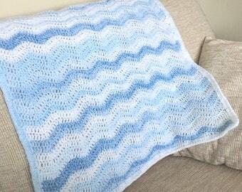 Baby boy christening gift blanket, new baby boy gift, crocheted blanket, blue baby boy gift.